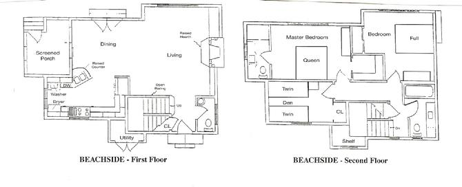 Rental lakefront cottage floorplans for Lakefront home floor plans
